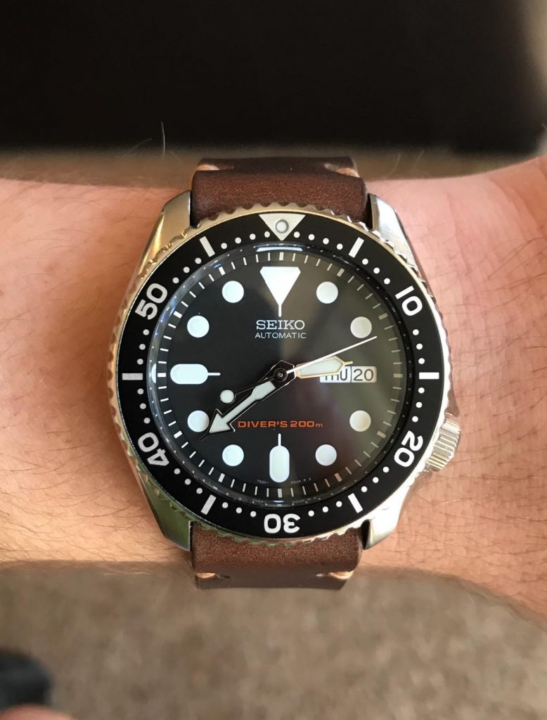 Seiko SKX007 on hand leather