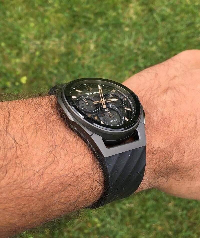 Bulova Curved Watch on hand
