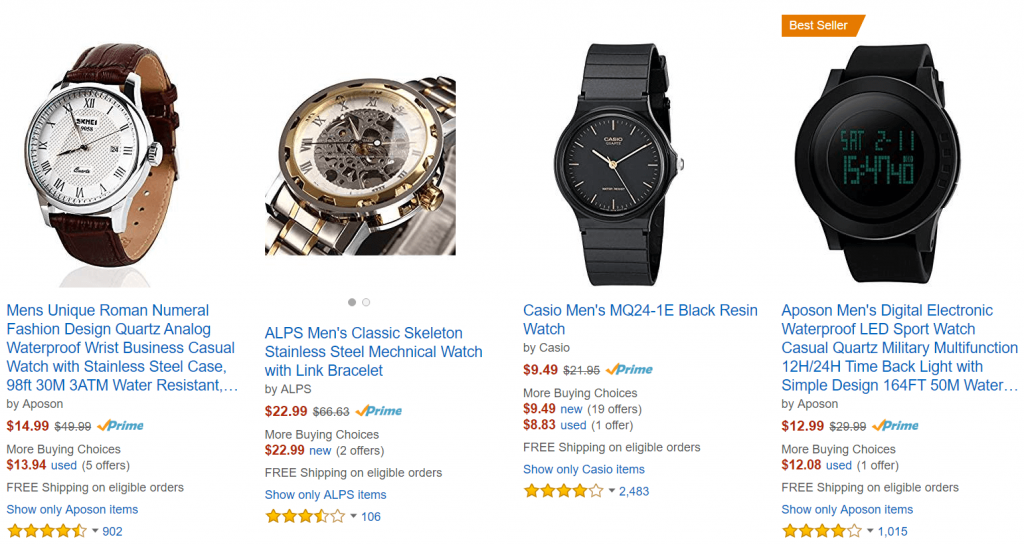 Quartz watch prices amazon