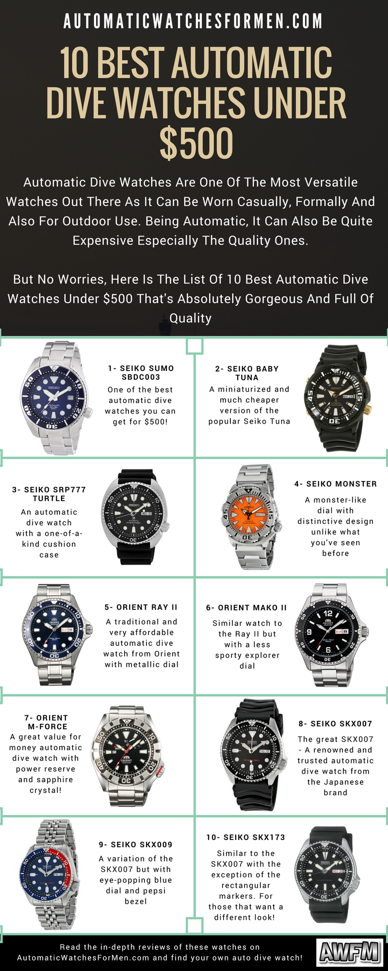 10 Best Automatic Dive Watches Under 500 Automatic Watches For Men