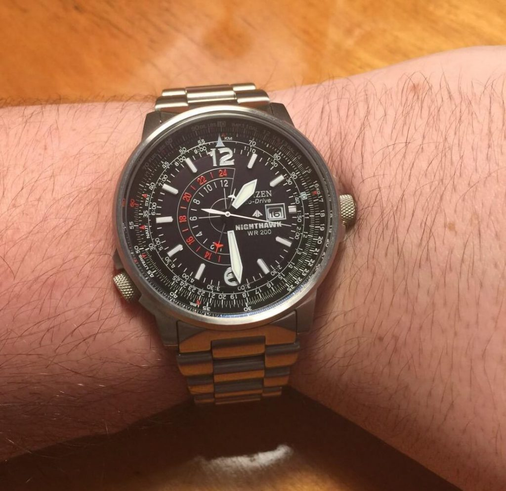 Citizen Nighthawk watch on hand
