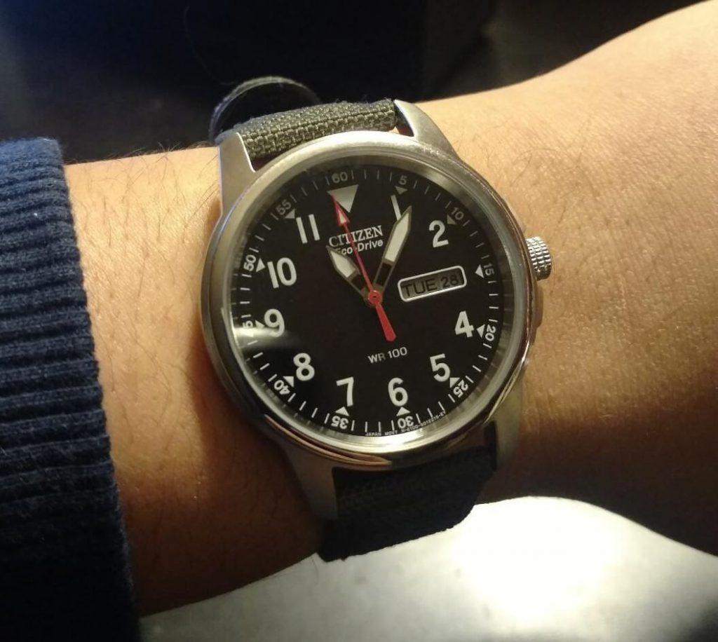 Citizen BM8180-03E watch on hand 2